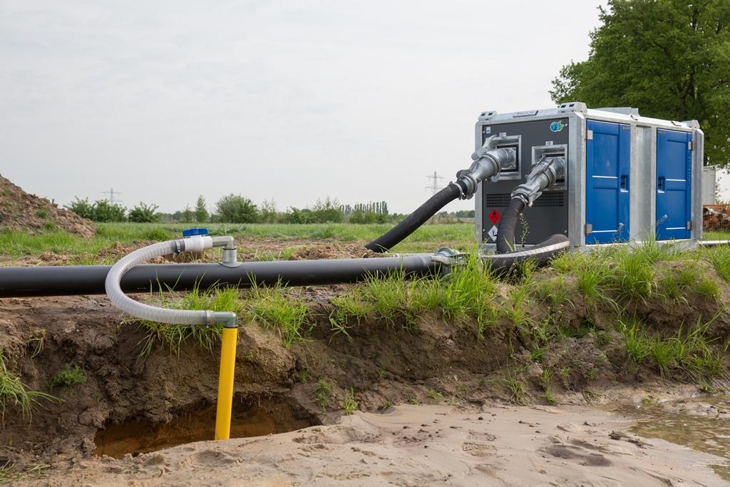 Auf dem Bild ist eine Grundwasserabsenkung mit professionellen Pumpen von BBA Pumps BV zu sehen