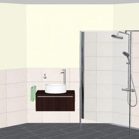 Dreidimensionale Badplanung – Ansicht Dusche und Waschtisch