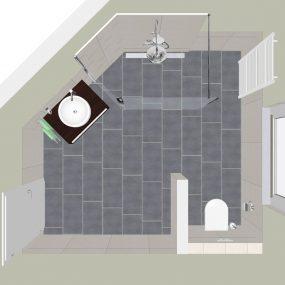Bad in 3D von oben mit schräger Wand