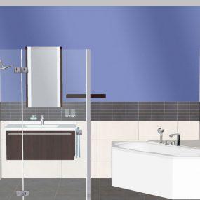 3D Grundplanung Bad mit Dusche, Badewanne und Waschtisch