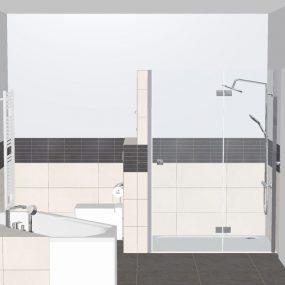 Grundplanung Bad mit großer Dusche